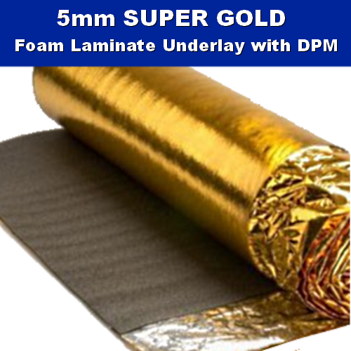 5mm super gold laminate wood underlay dpm 15m2 for Wood floor underlay 5mm