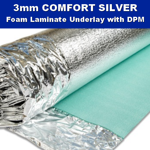 3mm Comfort Silver Laminate Wood Underlay DPM - 15m2