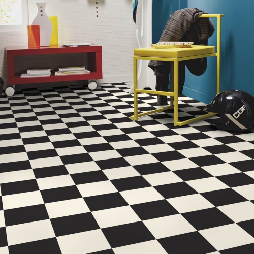 Rhinofloor XL Supergrip Cushion Floor - Marwell Black White Check